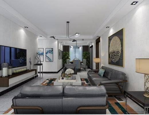現代客廳, 客餐廳, 臥室, 雙人床, 吊扇, 書房