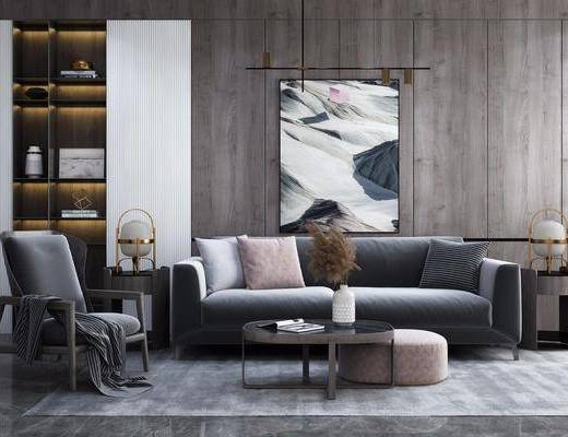 沙发组合, 茶几, 单椅, 装饰画, 花瓶