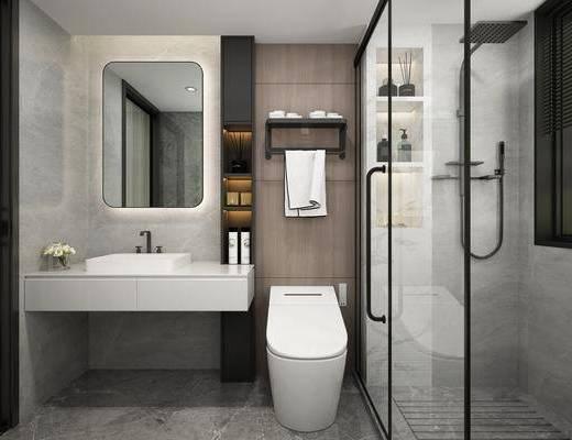 现代卫生间, 浴室, 洗漱台, 座厕