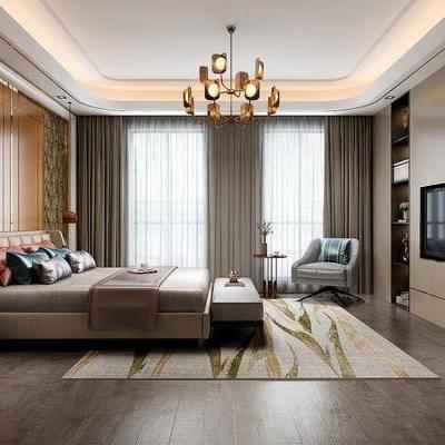 现代卧室, 现代, 卧室, 吊灯, 床, 床头柜, 椅子