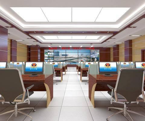 监控室, 现代监控室, 桌椅组合