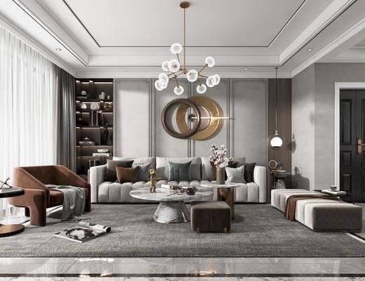 现代, 客厅, 客餐厅, 家装, 场景