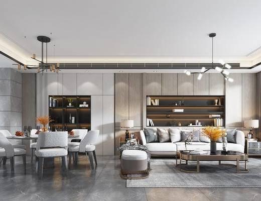 客厅, 沙发组合, 餐厅, 桌椅组合, 吊灯, 电视柜
