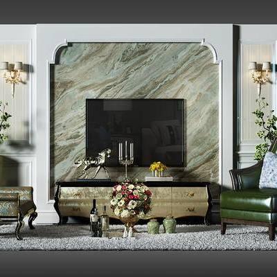 电视墙, 背景墙, 电视背景墙, 壁灯, 盆景, 植物, 椅子, 沙发椅, 凳子, 欧式