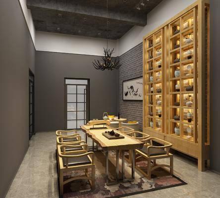 茶室, 茶柜, 装饰柜, 瓷器, 茶桌, 单人椅, 桌子, 茶具, 风景画, 吊灯, 摆件, 装饰品, 陈设品, 新中式