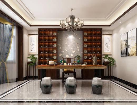 书柜, 书桌, 窗帘, 吊灯, 茶具组合, 装饰画