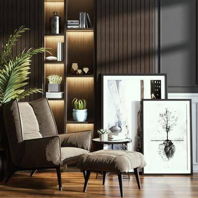 单椅, 休闲椅, 装饰画, 植物