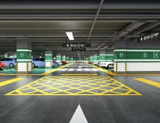 室内车库, 停车场, 汽车, 现代