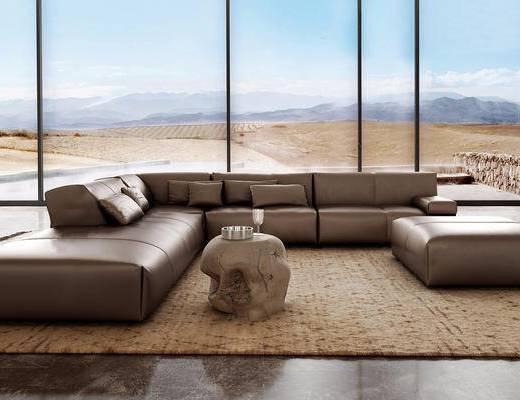 沙发组合, 多人沙发, 边几, 摆件组合