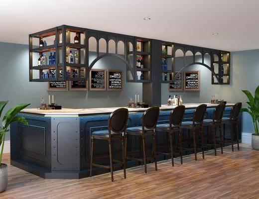 吧台, 单椅, 酒柜, 摆件组合, 盆栽植物