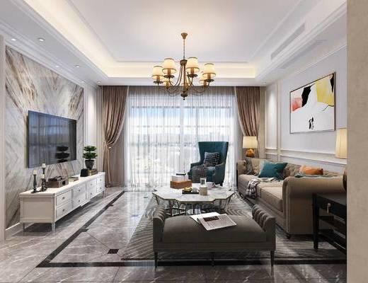 客厅, 餐厅, 沙发, 电视柜, 吊灯, 餐桌椅, 椅子, 装饰画