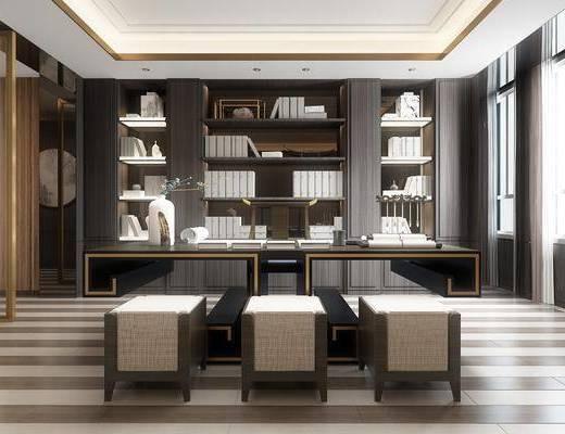 桌椅组合, 书柜, 书架, 装饰画