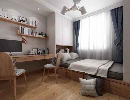 北欧卧室, 北欧床具, 榻榻米, 书桌, 椅子, 置物架, 摆件, 衣柜