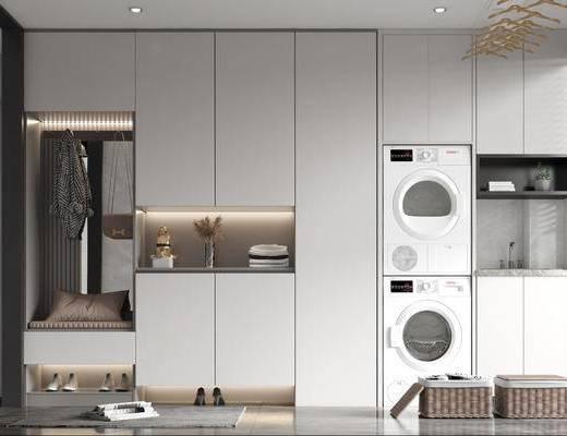 現代嵌入式鞋柜, 洗衣機柜