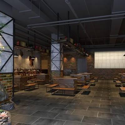 餐厅, 火锅店, 餐桌椅, 桌椅组合, 餐饮