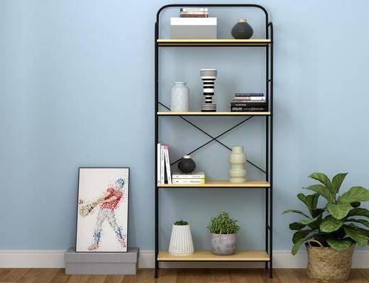 书柜, 书架, 盆栽, 绿植植物, 装饰品, 陈设品, 现代简约