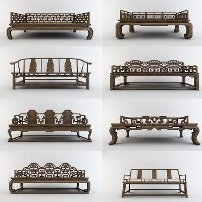 中式罗汉床, 中式沙发, 实木沙发