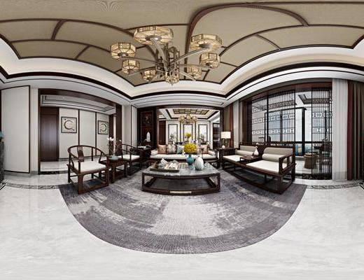 客厅, 餐厅, 新中式客餐厅, 沙发组合, 茶几, 摆件组合, 全景图