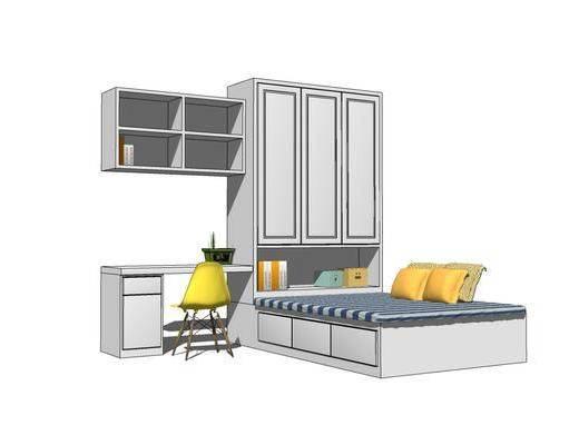 单人床, 桌椅组合, 置物柜