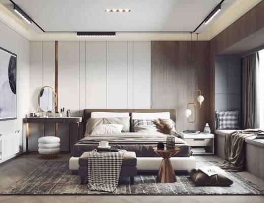 双人床, 梳妆台, 摆件组合, 装饰画
