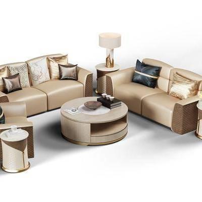 多人沙发, 皮革沙发, 边几, 茶几, 摆件, 台灯, 现代