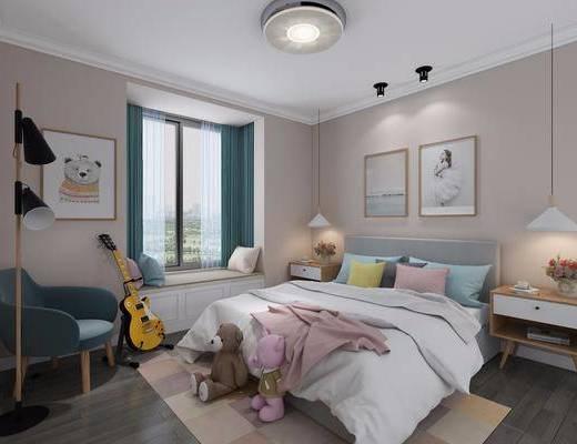 北欧儿童房, 北欧卧室, 北欧床具, 玩具, 床头柜, 台灯, 椅子, 落地灯, 挂画