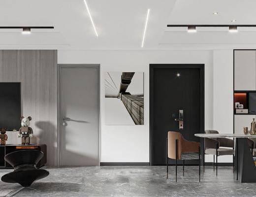 现代轻奢风格客厅餐厅