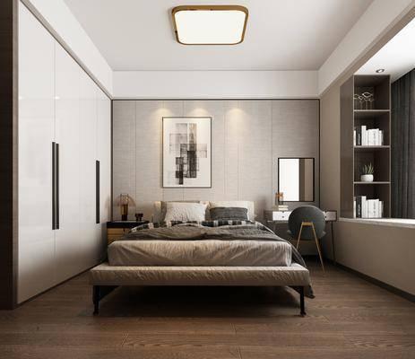 双人床, 装饰画, 衣柜, 床尾踏, 梳妆台, 吸顶灯, 床头柜
