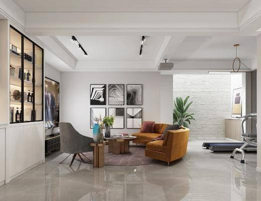 装饰画, 沙发组合, 单椅, 茶几, 酒柜, 盆栽植物