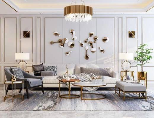 现代沙发, 沙发组合, 布艺沙发, 多人沙发, 现代吊灯, 轻奢吊灯, 水晶吊灯, 茶几, 边几, 台灯, 单人沙发, 盆栽, 墙饰