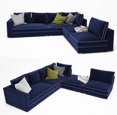 多人沙发, 现代沙发, 布艺沙发, 转角沙发, 布艺转角沙发, 现代, 纯色沙发