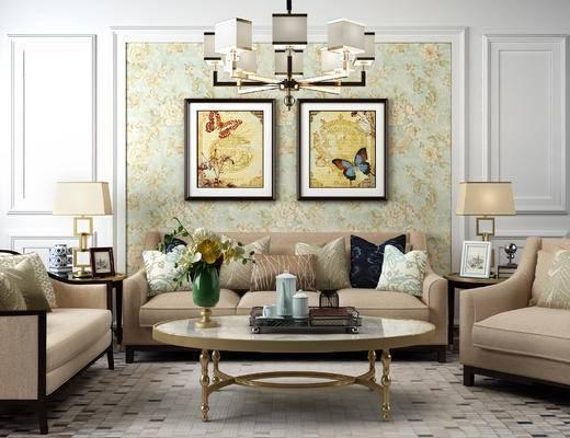美式沙发, 美式吊灯, 茶几, 美式沙发组合, 美式
