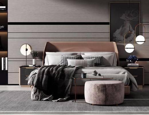 床具组合, 双人床, 吊灯, 装饰画