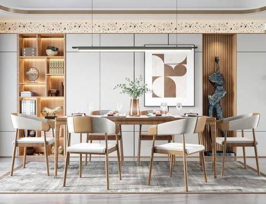 新中式餐厅, 餐桌椅, 装饰柜