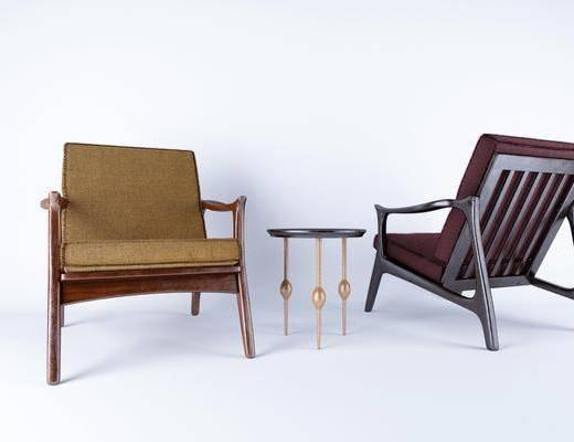 椅子组合, 单人椅, 边几, 新中式