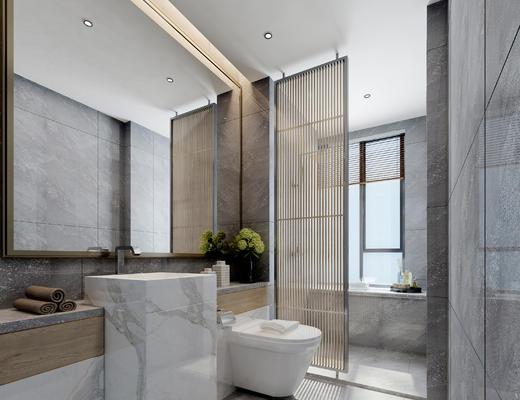 卫生间, 淋浴间, 卫浴, 便器, 洗手台, 镜子