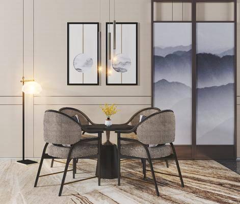餐桌椅组合, 挂画组合, 新中式