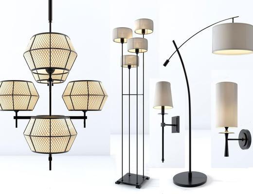 新中式, 吊灯, 落地灯, 壁灯