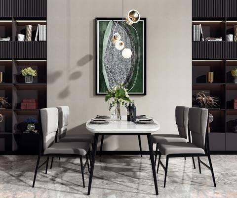 桌椅组合, 餐桌, 餐椅, 单人椅, 吊灯, 装饰画, 挂画, 装饰柜, 摆件, 装饰品, 陈设品, 餐具, 现代