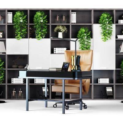 桌椅组合, 书桌, 单椅, 椅子, 书柜, 摆件, 装饰品, 书籍, 植物, 盆栽, 现代