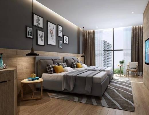 现代宾馆双人间, 酒店客房, 双人床, 挂画, 卫生间, 洗手台, 浴缸, 淋浴间, 吊灯