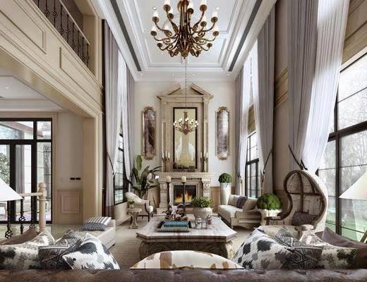 客厅, 多人沙发, 单人沙发, 躺椅, 吊灯, 装饰镜, 落地灯, 盆栽, 绿植, 茶几, 摆件, 装饰品, 陈设品, 欧式