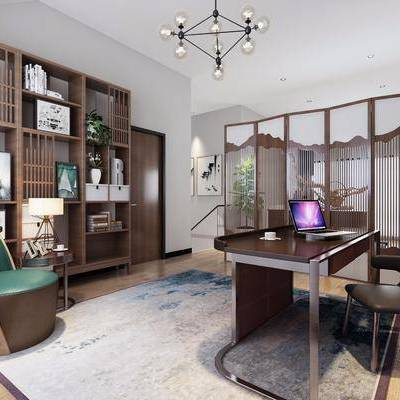 书房, 书柜, 装饰柜, 书桌, 单人椅, 摆件, 书籍, 隔断屏风, 新中式