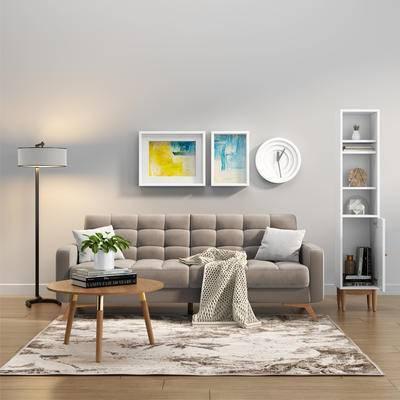 沙发组合, 沙发茶几组合, 多人沙发, 现代沙发, 落地灯, 茶几