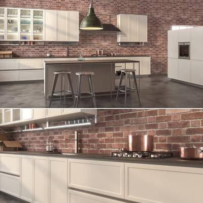 厨房, 橱柜, 餐桌, 餐椅, 厨具, 厨房用品, 现代