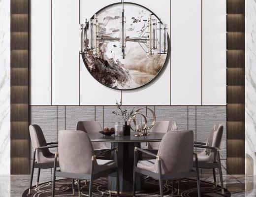 水晶吊灯, 装饰挂画, 桌椅组合, 墙饰, 餐具组合, 摆件