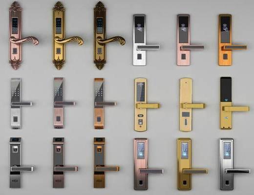 现代电子锁, 指纹锁, 把手, 拉手, 现代, 门锁, 门把, 电子锁