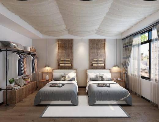 酒店客房, 卧室, 床具组合, 衣架组合, 双人间, 现代