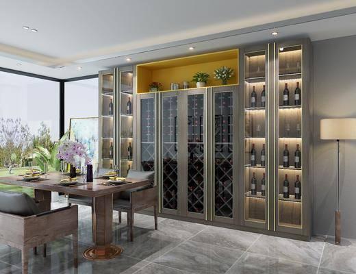 餐边酒柜, 酒瓶, 落地灯, 餐桌, 餐椅, 单人椅, 餐具, 花瓶花卉, 现代