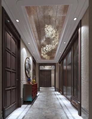 过道, 走廊, 边柜, 吊灯, 中式, 新中式